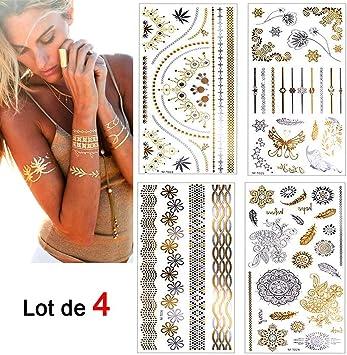 Eposeedor Tatuajes Temporales Adultos, 4 Hojas Tattoos Dorados ...