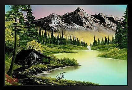 Amazon.com: Bob Ross Mountain Retreat Art Print Painting Framed ...
