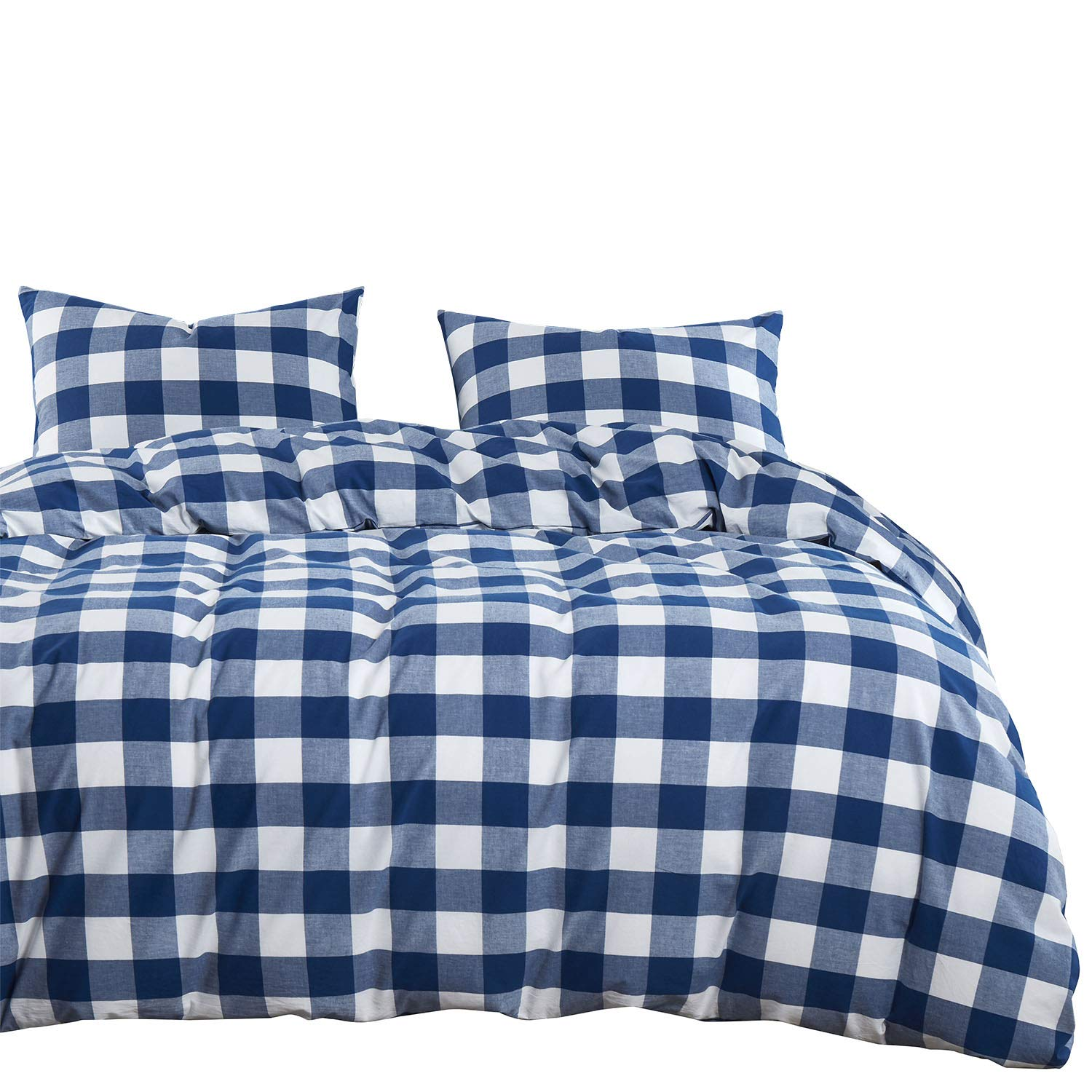 Wake In Cloud - Washed Cotton Duvet Cover Set, Buffalo Check Gingham Plaid Geometric Checker Pattern Printed in Navy Blue White, 100% Cotton Bedding, with Zipper Closure (3pcs, Queen Size)