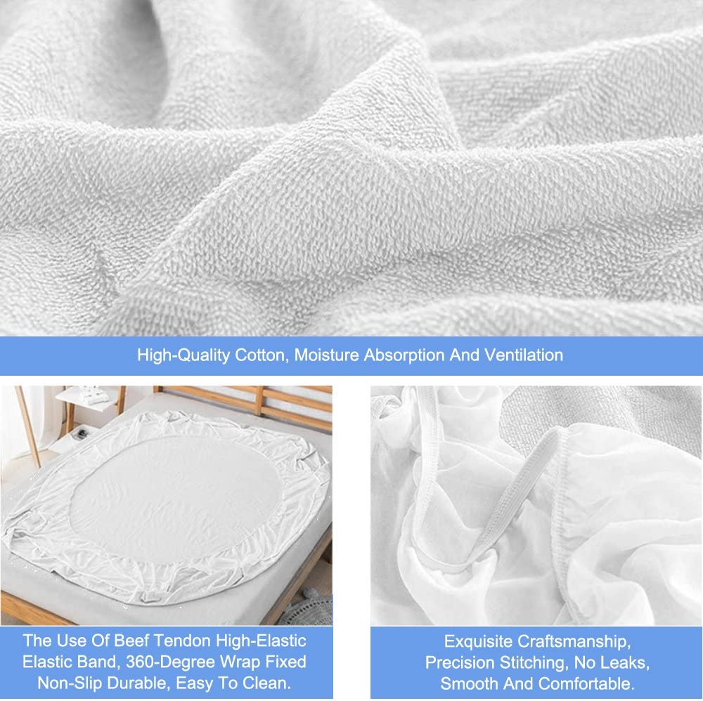 Breathable Soft Non Noisy Pad Cover 160cm x 200cm Bed Terry Toweling and Cotton Top Anti Allergy Rhodesy Waterproof Mattress Protector King 160 x 200 cm King Size 63 x 78