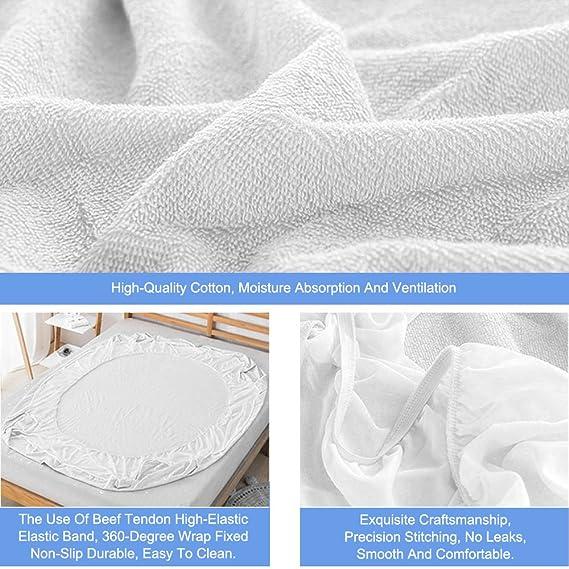 32e5016d7a Rhodesy Coprimaterasso Singolo Impermeabile Protezione Materasso, Tessuto  Spugna in Cotone Coprimaterasso per Letto Singolo Anti-allergico - Misura  ...