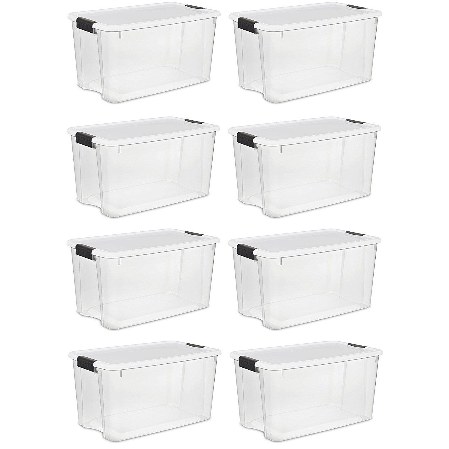 Sterilite 70 Quart/66 Liter Ultra Latch Box, Clear with a White Lid and Black Latches, (70 Quart, 8-Boxes)
