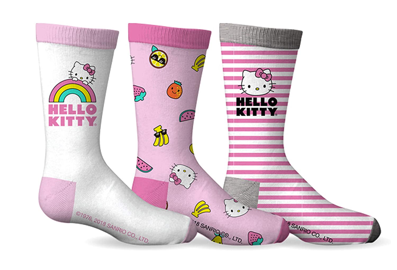 Girls Hello Kitty 3-Pack Crew Socks