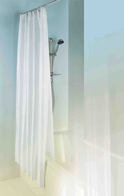 MX Double Layer Shower Curtain Outside Textile Inside Peva White LED Bulbs