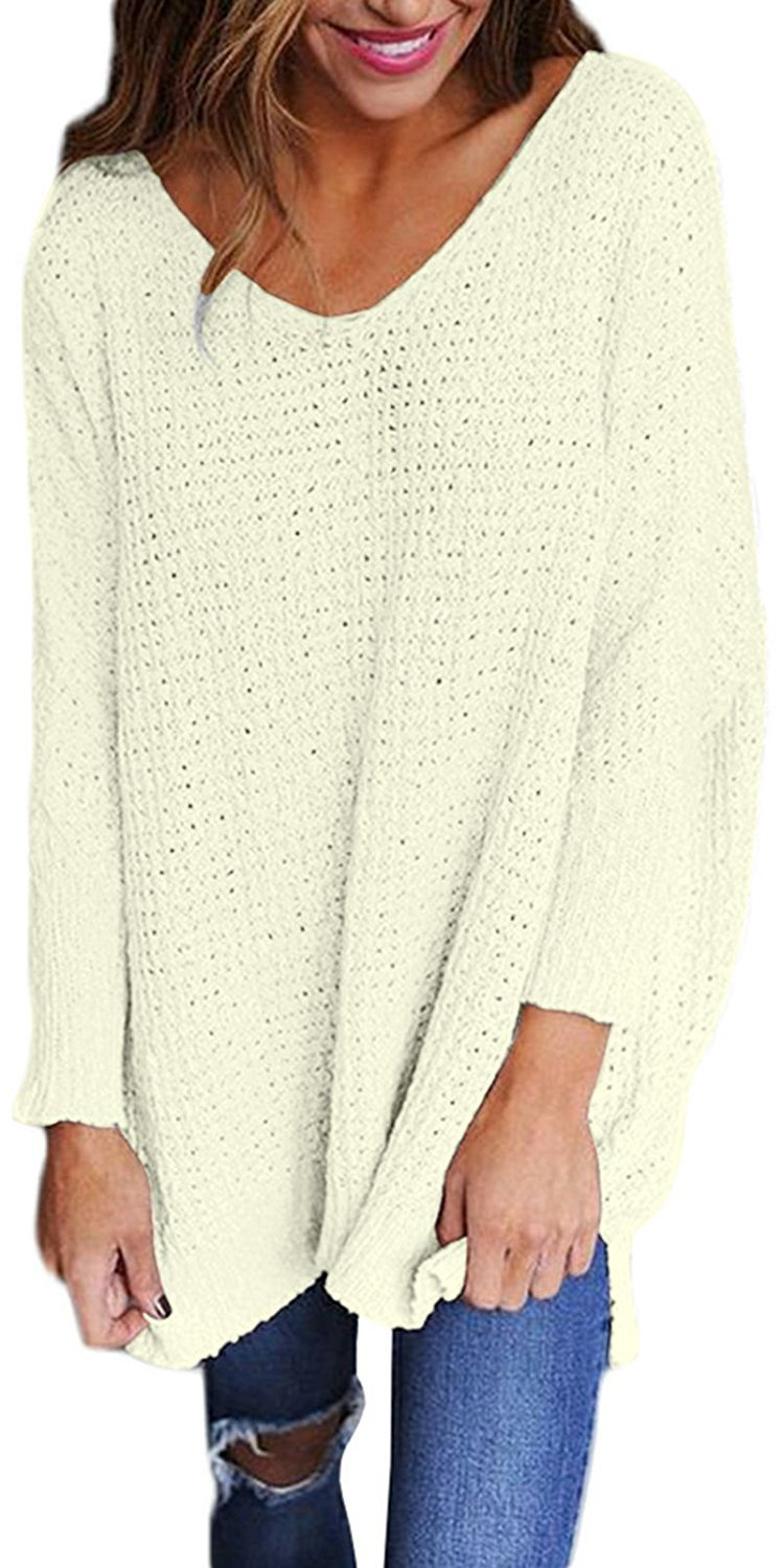 Women's Oversized Knitted Sweater Long Sleeve V-Neck Loose Top Jumper Pullovers White M