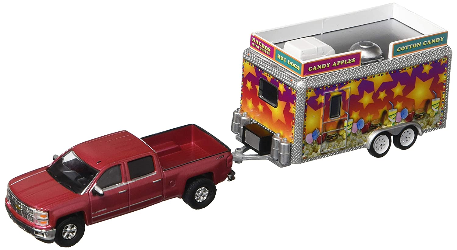 2015 Chevrolet Silverado State Fair Concession Trailer Hitch Tow Series 7 1 64 by Greenlight 32070 A