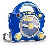 auna Pocket Rocker • chaîne karaoké pour enfants • 2 microphones dynamiques • lecteur CD • enceintes stéréo • fonction répétition • sortie écouteurs 3,5mm • alimentation optionelle par piles • bleu