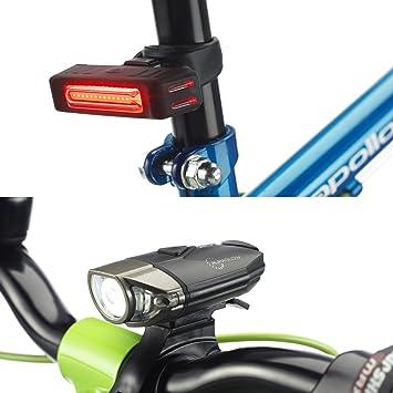 Auraglow Juego de Luces Recargables USB para Bicicleta, Delantera y Trasera (Trasera), LED con Liberación Rápida y Soporte para Casco de Ciclismo: ...