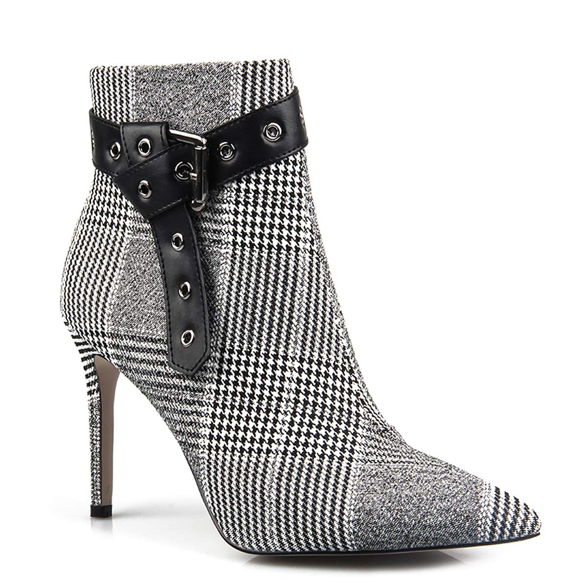 6d96d2cf05fd Amazon.com  perixir Wool Fabric Plaid Ankle Boots for Women Shoes Pointed  Toe Sexy Thin High Heels Ladies Boots Botas Mujer Bota Feminina  Shoes
