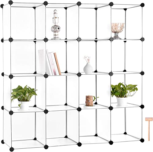 Houssem 16 Cube Storage Shelf DIY Stackable Storage Organizer Plastic Detachable Modular Bookcase