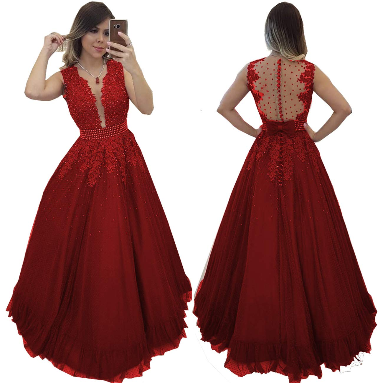 Dark Red MariRobe Women's Beaded Lace Applique Prom Dresses Illusion Back Deep v Neck Long Formal Gowns