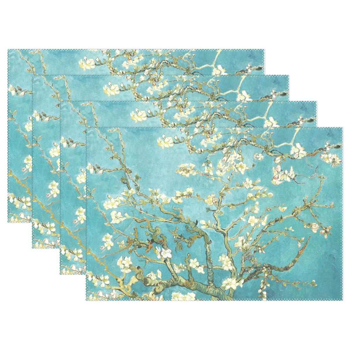 (トロピカルライフ) TropropropLife プレースマット ビンテージ 日本チェリーブロッサム 洗濯可能 テーブルマット 耐性 ホームキッチン ダイニングテーブル装飾 4枚セット   B07JKWNY1B