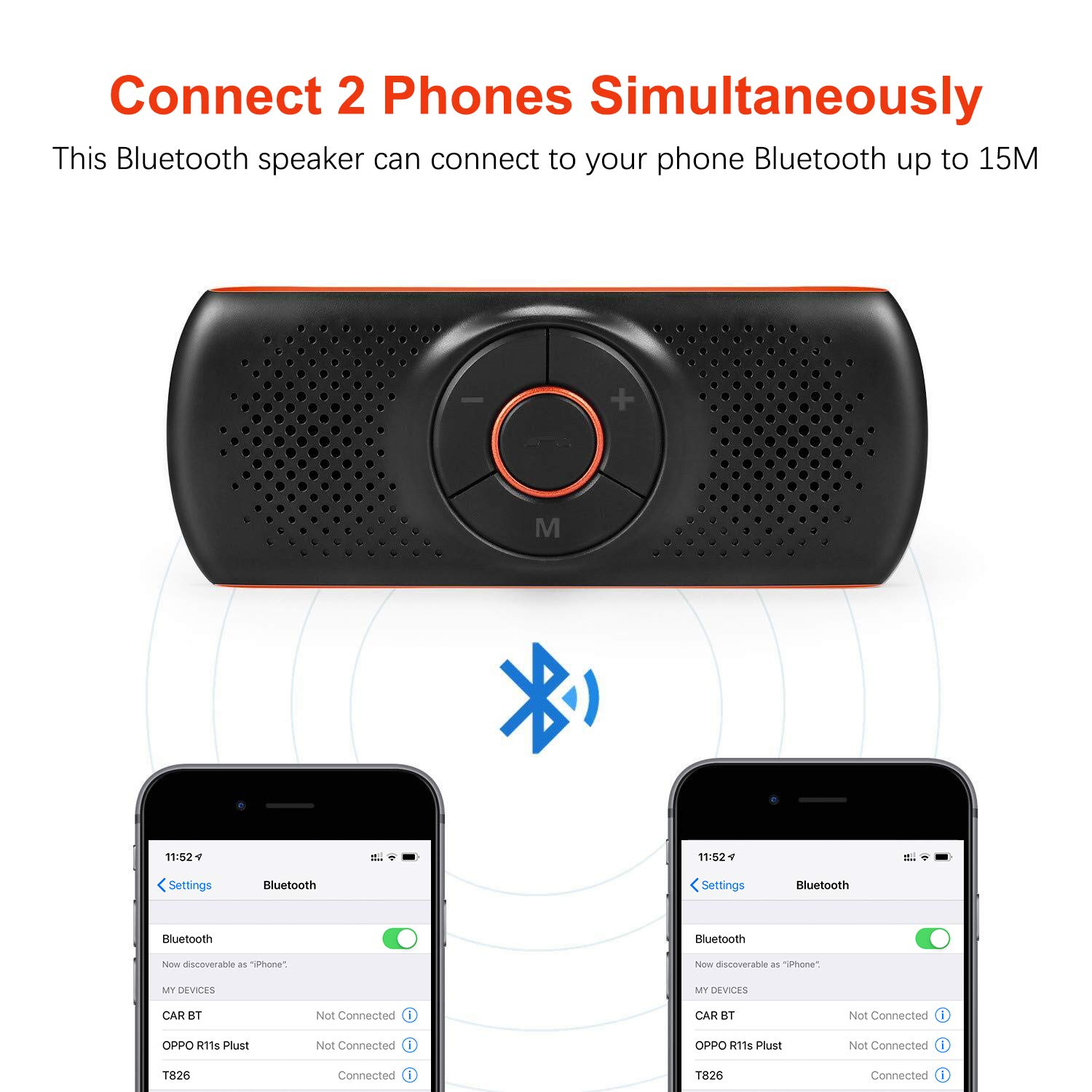 Siri//Google Assistant//TF Card Supported Portable Bluetooth Speaker for Home//Sport//Outdoor Use Bluetooth Hands Free Speakerphone for Cell Phone Wireless Car Kit Music Player Adapter with Back-Clip