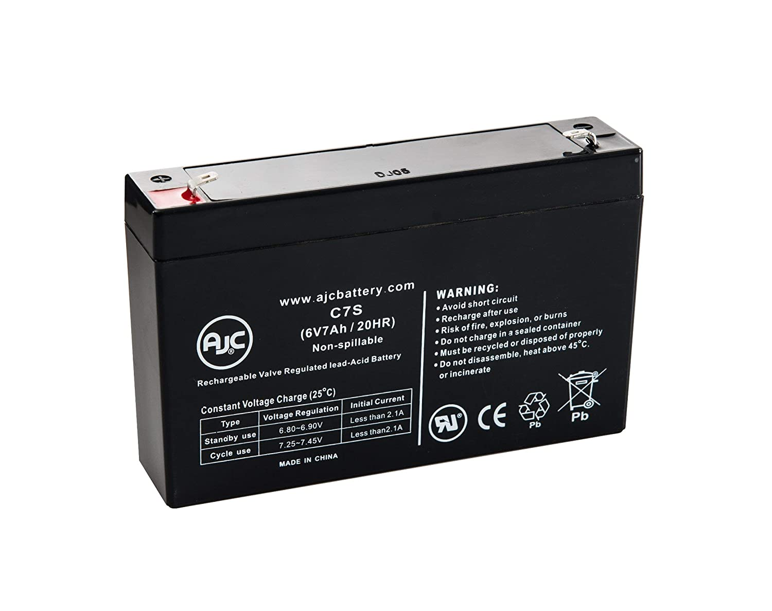Portalac GS PE6V7.2F1 6V 7Ah Emergency Light Battery - This is an AJC Brand Replacement AJC Battery
