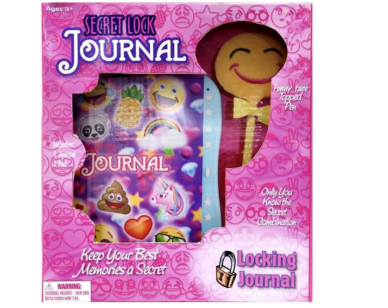 Unicorns Auxo Emoji Locking Journal w//Smiley Face Pen Smiley Faces on Purple Background Dolgencorp Pandas