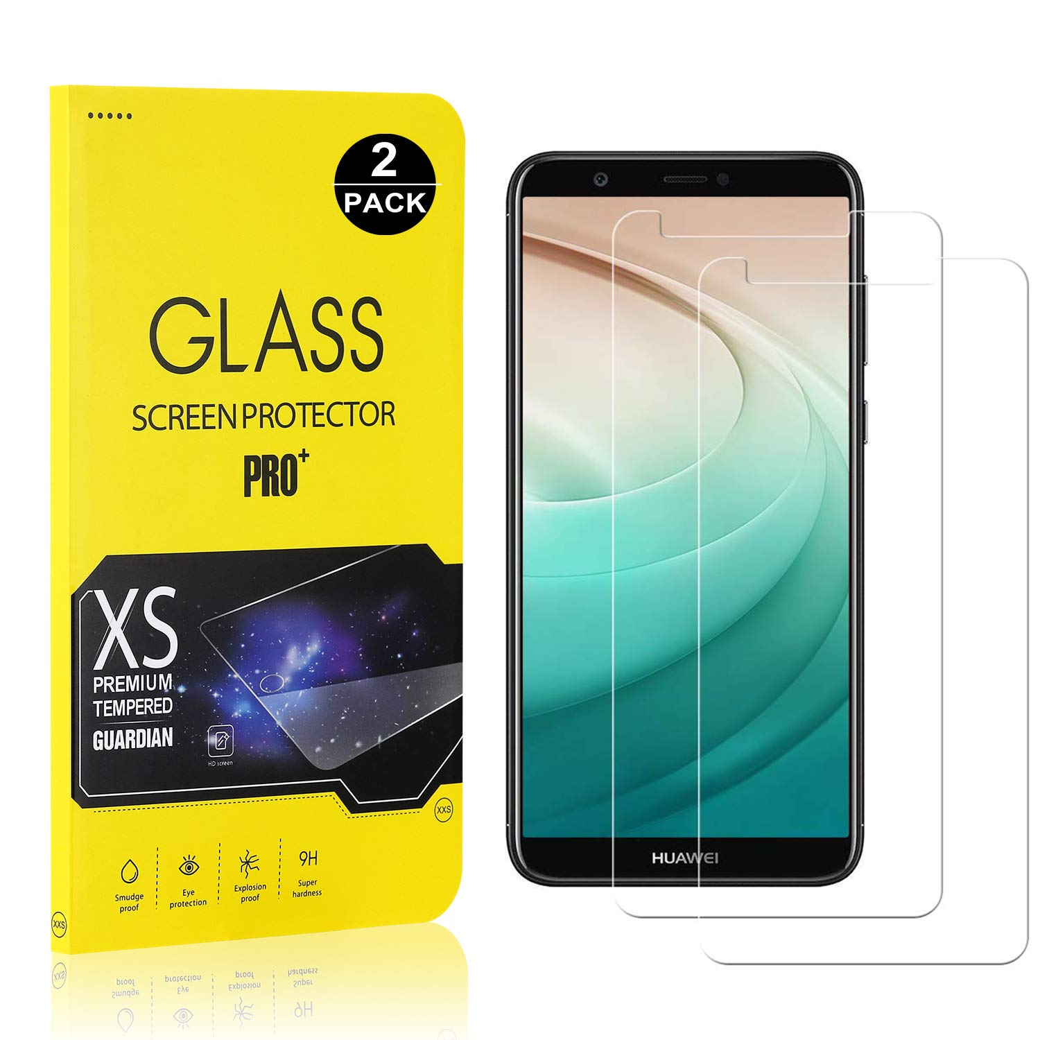 Huawei P Smart/Enjoy 7S Screen Protector, Bear Village® Tempered Glass Screen Protector [Lifetime Warranty], 9H Hardness Screen Protector Film for Huawei P Smart/Enjoy 7S - 2 Pack