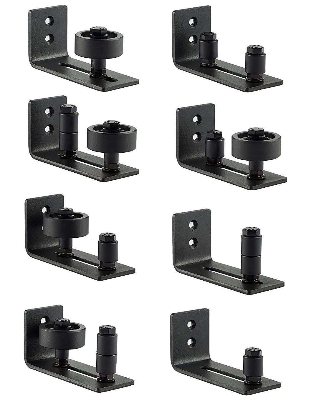 Barn Door Floor Guide Stay Roller - Black Powder Coated Adjustable Wall Mount Guide with up to 8 Different Setups - Perfect Fit for ALL Barn Doors