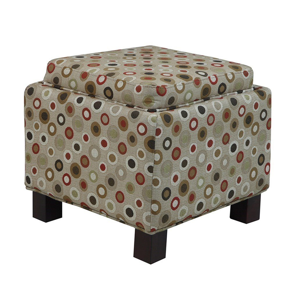 ModHaus Living Modern Square Upholstered Storage Ottoman with 2 Accent Pillows and Wood Legs in Espresso Finish - Includes Pen (Tan Circle Print)