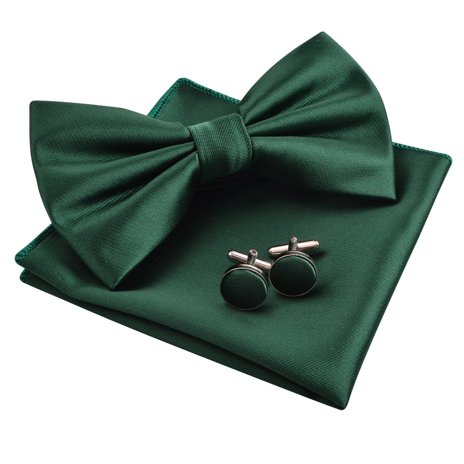 Alizeal Mens Tuxedo Bow Tie& Hanky& Cufflinks Set (Dark Green) by Alizeal
