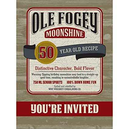 Amazon ole fogey moonshine 50th birthday invitation 8 ole fogey moonshine 50th birthday invitation 8 invites party supplies filmwisefo