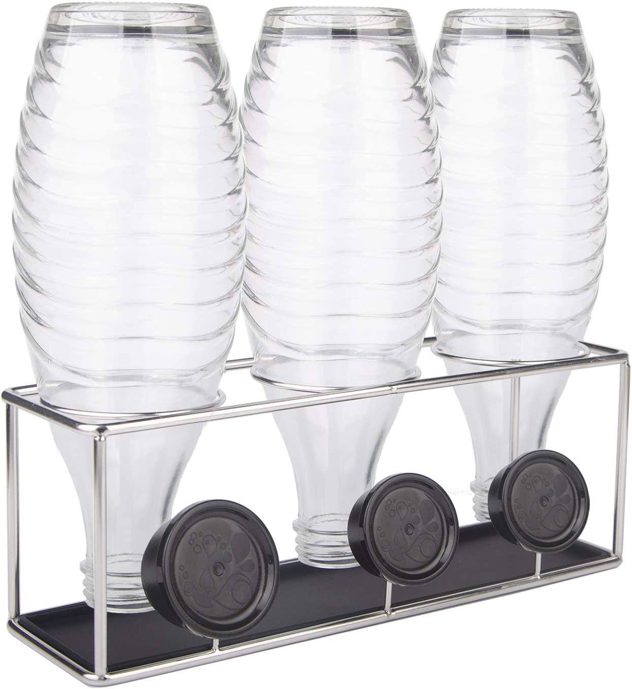 SHAN ZU Bottle Holder for SodaStream Dishwasher Safe 304 Stainless Steel Drainer Rack with Removable Drip Tray Drying Rack of Carafe Bottles