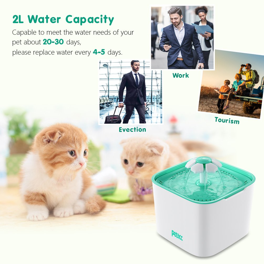 Pet Fountain Cat Dog Water Dispenser with Pump and 4 Replacement Filters - Healthy and Hygienic 2L Super Quiet Automatic Electric Water Bowl, Drinking Fountain for Dogs, Cats, Birds and Small Animals by Petacc (Image #2)