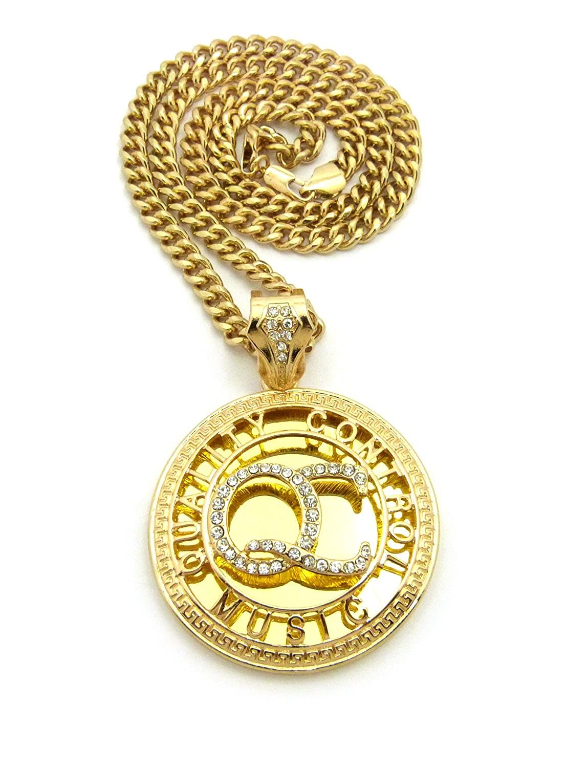 "ICED OUT 'QC' QUALITY CONTROL MUSIC PENDANT & 24"" CUBAN CHAIN NECKLACE - CP174G"
