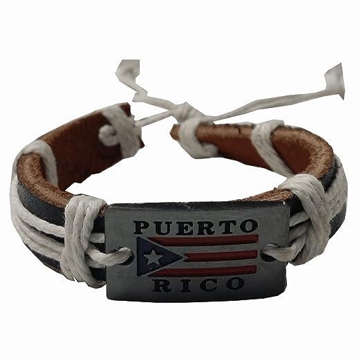 9969d5cde8d99 Amazon.com: Leather Bracelet White Puerto Rico Flag Metal Plaque ...