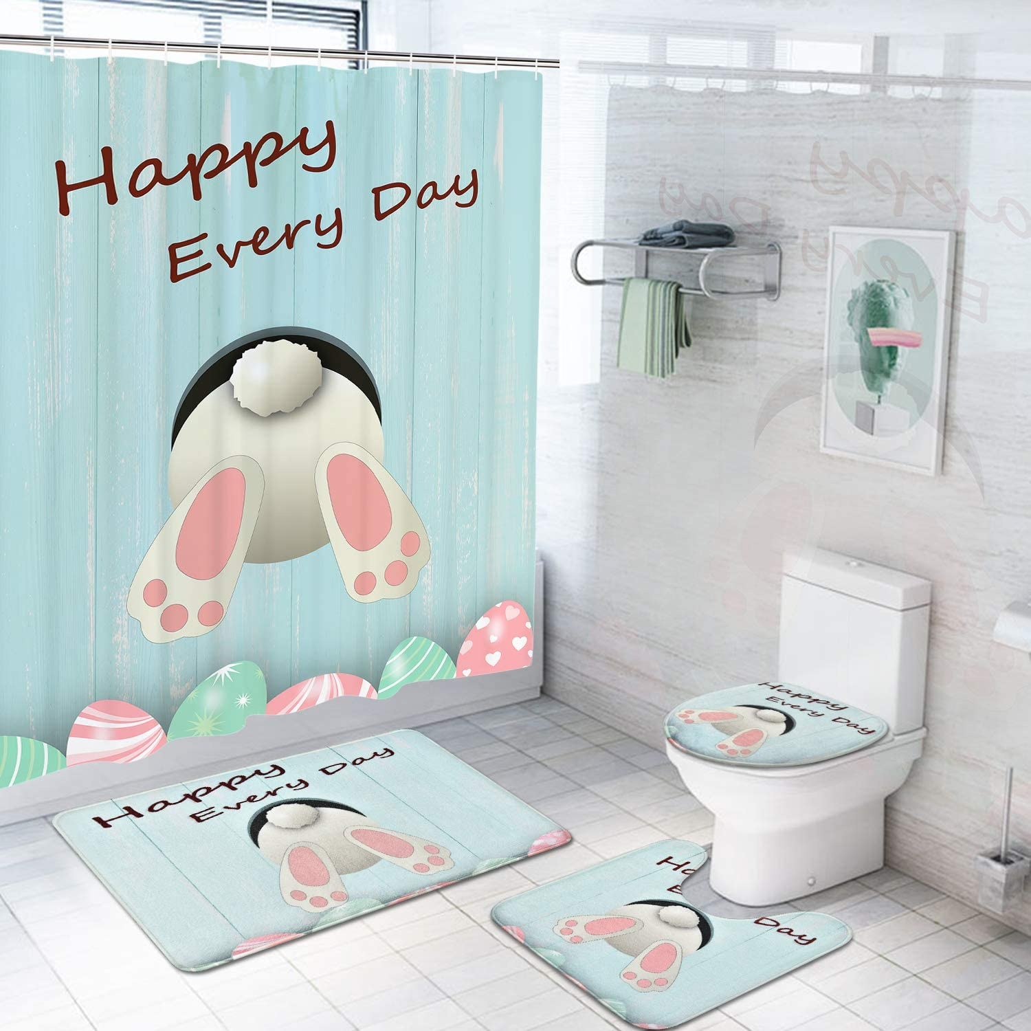 Alishomtll 8 Pcs Happy Easter Shower Curtain Sets with Non-Slip Rugs,  Toilet Lid Cover, Bath Mat and 8 Hooks Funny Rabbit Easter Eggs Durable  Shower