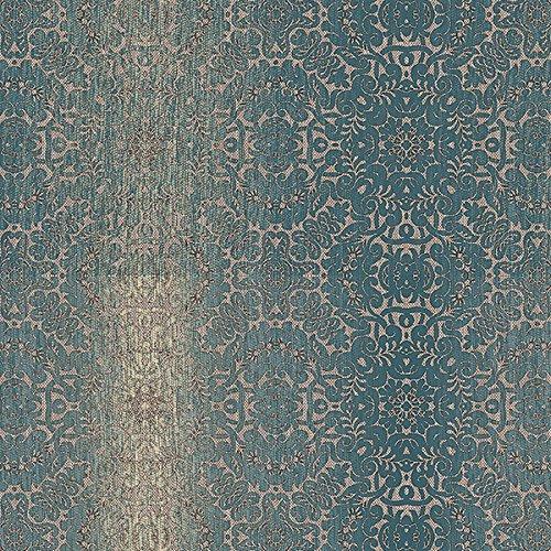 Damask Stripes Wallpaper - Norwall NWTX34826 Peoria Mini Damask Stripe Textured Wallpaper, Blue, Teal, Cream, Brown