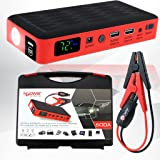 HALF Minute Power 600A Peak 35520mWh 12V Portable Car Battery Jump Starter Emergency Booster Charger and Auto Bank Power Pack with a Gift Ec-5 Cigarette Lighter Socket (Black/Red)