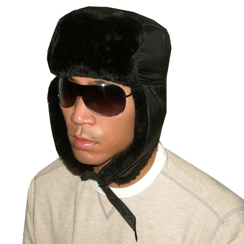 Unisex Weatherproof Warm Winter Faux Fur Pilot Trapper Trooper Ski Hat - Black