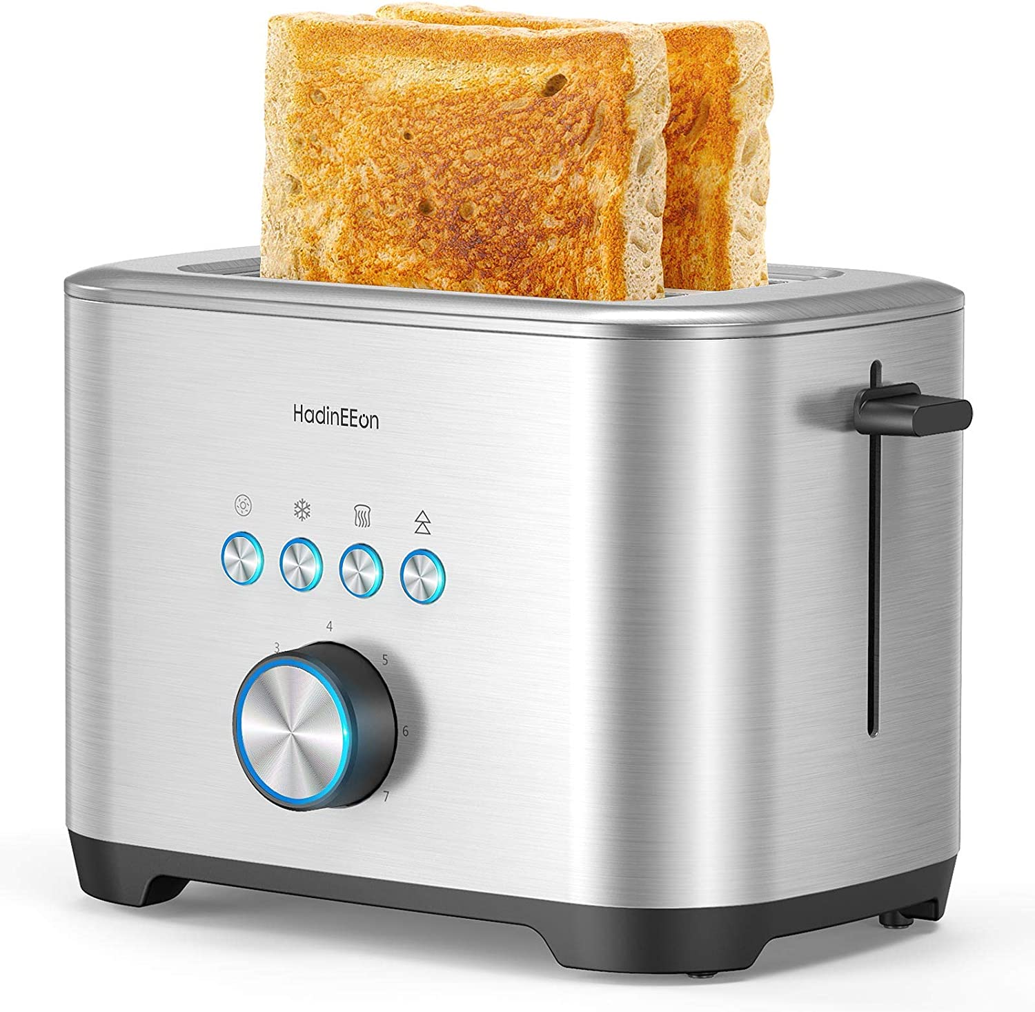 HadinEEon 2 Slice Toaster, Stainless Steel Toaster 1.5 Inches Extra Wide Slot, Cancel/Bagel/Defrost/Reheat Function, 7 Browning Levels Built-In Warming Rack for Muffin and Croissant, 120V, Silver