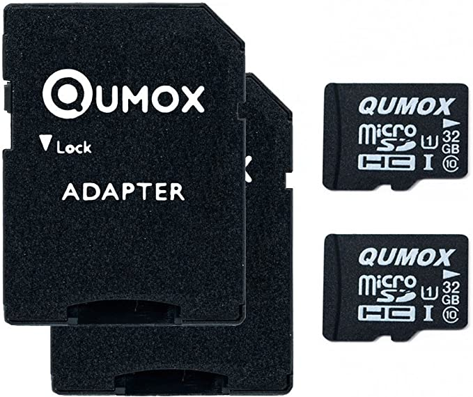 Qumox 32gb Micro Sd Memory Card Class 10 Uhs I 32 Gb Highspeed Write Speed 15mb S Read Speed Upto 70mb S 2pcs Pack Amazon Co Uk Computers Accessories