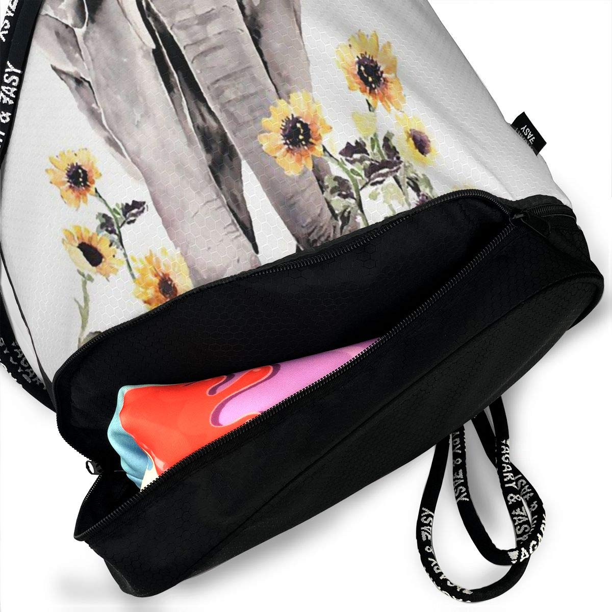 Elephant And Sunflower Multifunctional Bundle Backpack Shoulder Bag For Men And Women