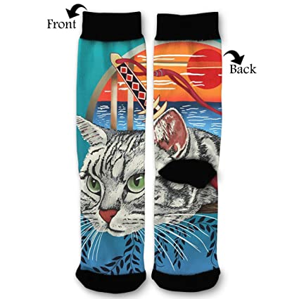 Amazon.com: EKUIOP Socks Ninja Cat Funny Fashion Novelty ...
