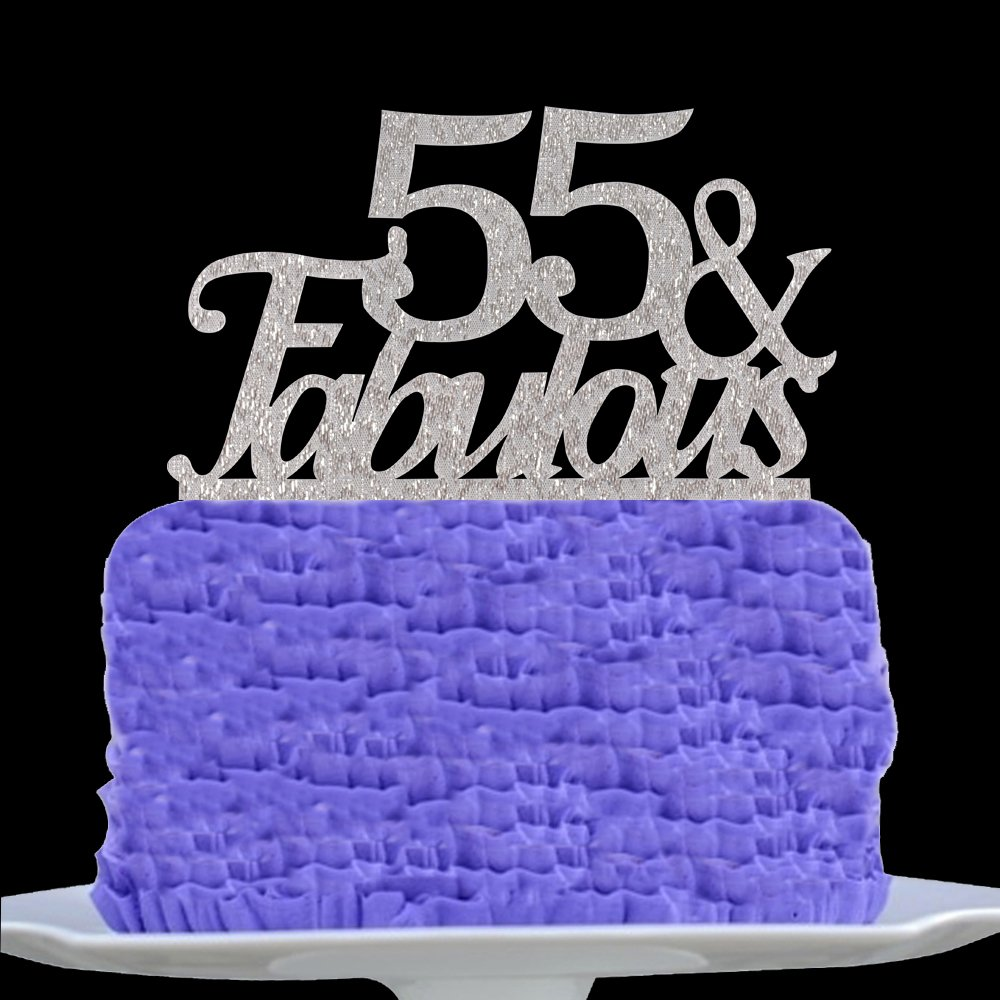 Amazon 55 Fabulous Cake Topper 55th Birthday Party Decorations Silver Pertlife Kitchen Dining