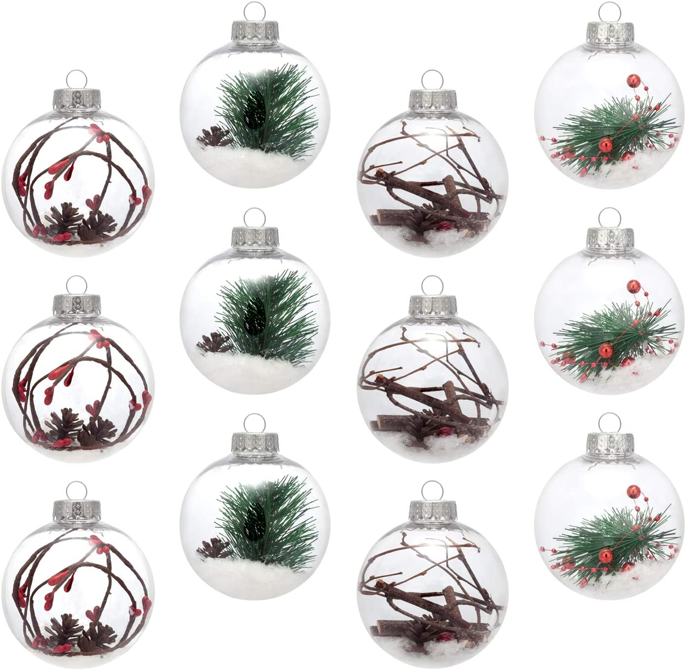 AMS 3.14''/12ct Christmas Ball Ornaments Shatterproof Clear Plastic Decorative Xmas Balls Baubles Set with Stuffed Delicate Decoration (80mm)