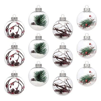 AMS 3.14''/12ct Shatterproof Clear Plastic Christmas Ball Ornaments  Decorative Xmas Balls Baubles - Amazon.com: AMS 3.14''/12ct Shatterproof Clear Plastic Christmas