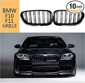 Zealhot Black Front Kidney Grille Grill for 2010-2017 BMW 5 Serie Double Line F10 F11 F18 M5(Gloss Black)