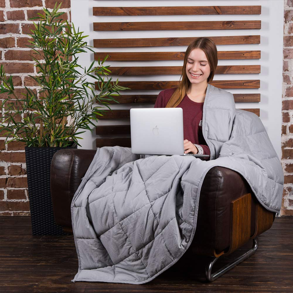 Class Cotton Weighted Blanket for Adult (48X72, 15 lbs, Twin Size, Light Grey) Organic Cooling Cotton & Premium Glass Beads - Designed in USA - Heavy Cool Weighted Blanket for Hot & Cold Sleepers by