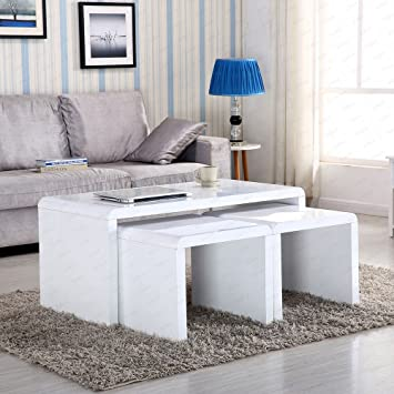 Design Modern High Gloss White Coffee Table Side End Set Of 3 Living Room