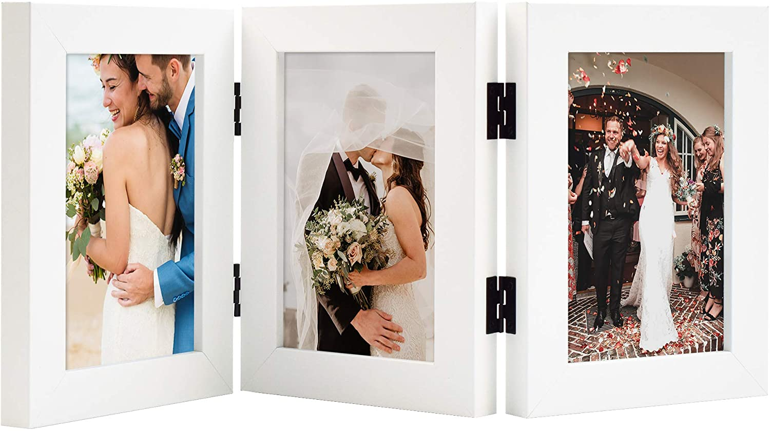 Golden State Art, Decorative Hinged Table Desk Top Picture Photo Frame, 3 Vertical Openings, with Real Glass (4x6 Triple, White, 1-Pack)