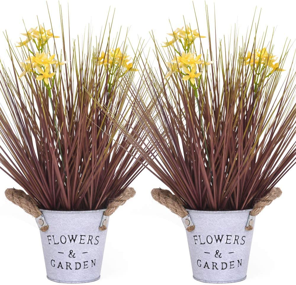 Luxsego Artificial Flowers and Plants in Pot, 2PCS, 15 Inches UV Resistant Potted Faux Plant, Artificial Fake Silk Flowers for Decorations, Bathroom, Garden, Office, Indoor and Outdoor (Yellow)