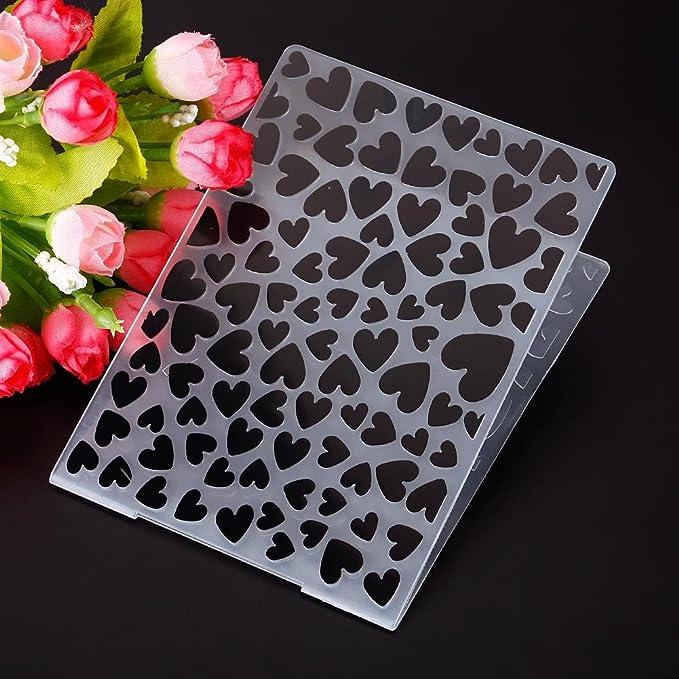 Teabelle Design Simple Joli C/œur Motif Plastique gaufrage pour DIY Fabrication de Cartes D/écoration Fournitures