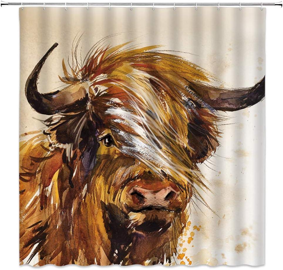 Highland Cow Shower Curtain Abstract Watercolor Farm Animal Portrait of Yak Longhorn Funny Farmhouse Rustic Bathroom Fabric Decor Curtain 70 x 70 Inch with Hooks,Brown