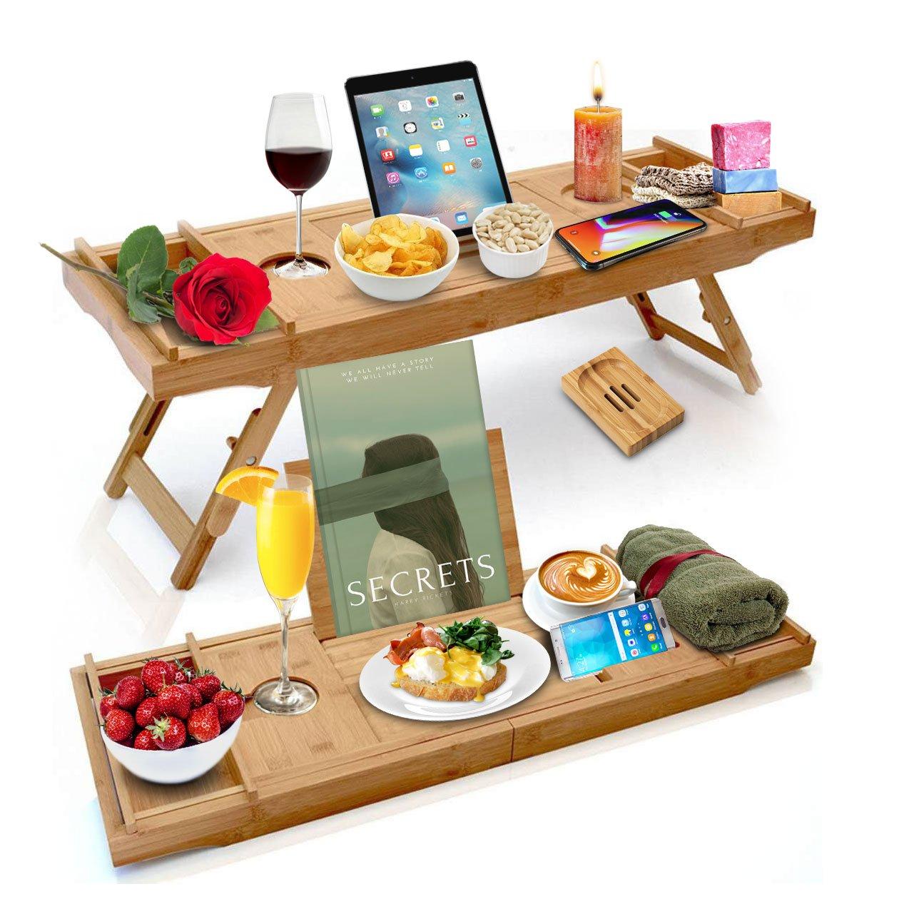Bambus Badewannenablage Bettablage Sofaablage Badewannen Ablagen 2 in 1 Halterung für Weinglas Glas Tablet Buch Smartphone Länge 75-108 cm Ausziehbar mit Seifenschale Witalis