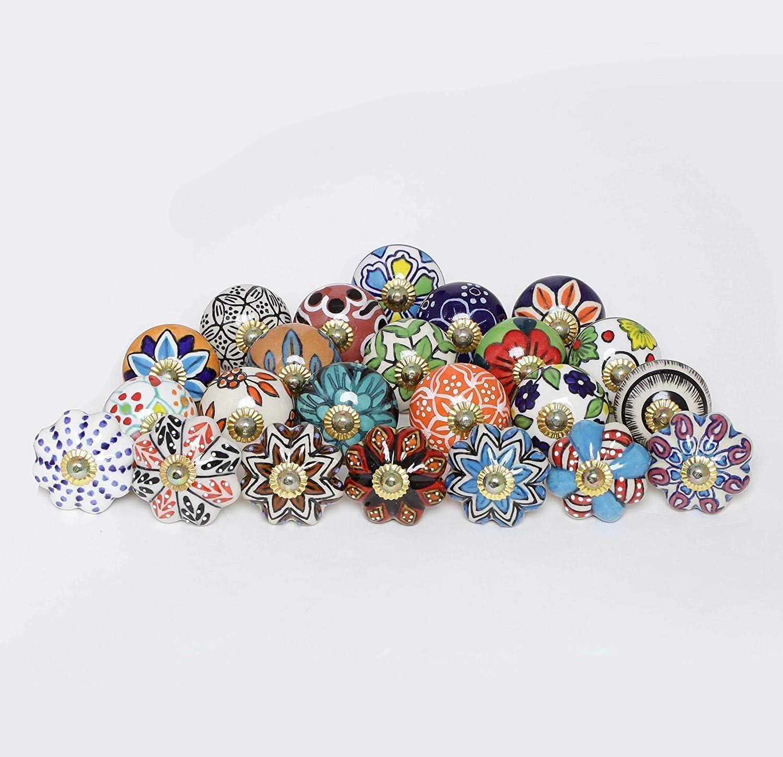 Multicolor Assorted Cabinet Knobs - Set of 30 Pcs - Ceramic Drawer Pull Handle Kitchen Cupboard Wardrobe Knob Boho Room Decorative Furniture Hardware