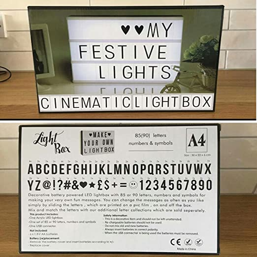 Led Cinema Light Box Amanni Personalised A4 Lichtkasten Usb 5 V