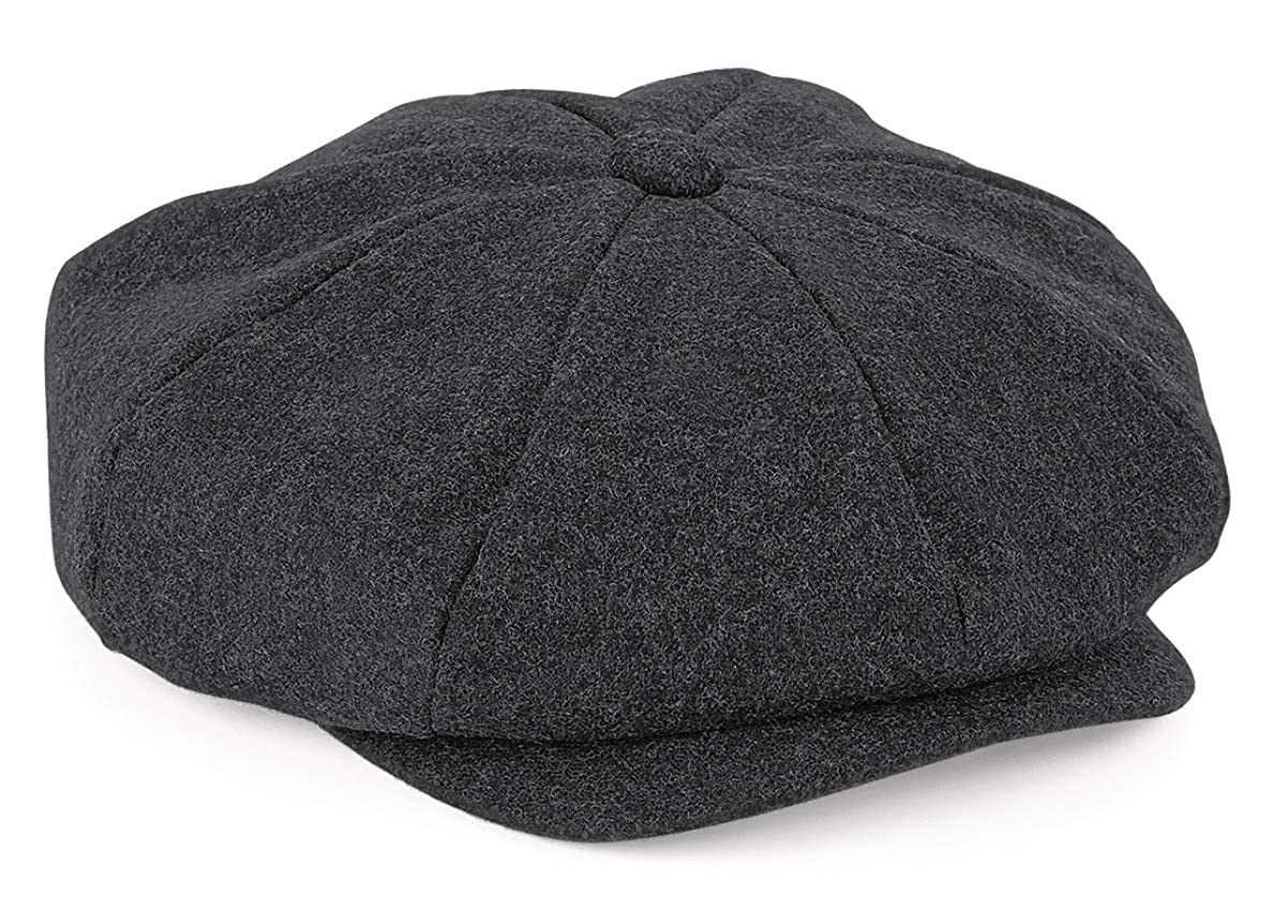 Peaky 8 Piece Newsboy//Bakerboy Style Flat Cap Charcoal Grey Wool